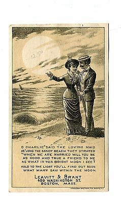 Victorian Trade Card NEW HOME SEWING MACHINE Leavitt & BrantBoston Hold to Light