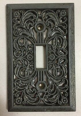 Vintage Silver Single Light Switch Cover Plate Ornate Floral Lace Design