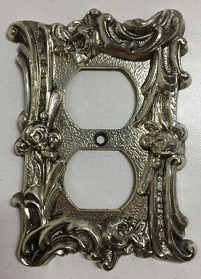 Vintage Silver Decorative Outlet Cover Plate Ornate Rose Floral Design