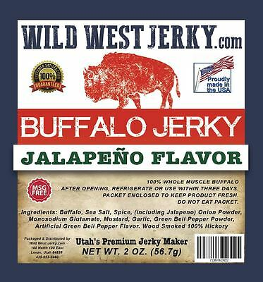 #1 BEST Natural Grass Fed Hand Stripped 2 OZ. Delicious Buffalo Jalapeno Jerky