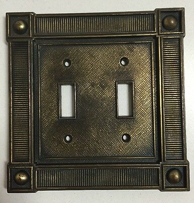Vintage Mid Century Art Deco Brass Double Light Switch Cover Plate