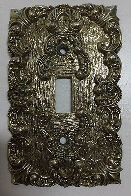 Vintage Brass Decorative Floral Ornate Light Switch Cover Plate Single Toggle