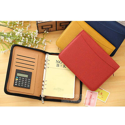 A6/A5/B5 Business Loose Leaf Planner Schedule Calculator Notebook Diary Leather