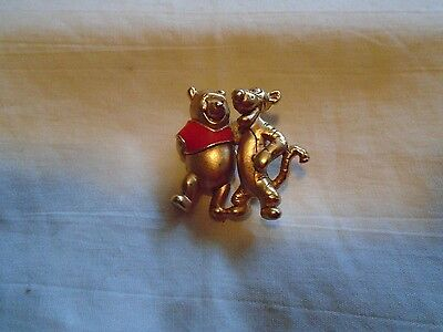 VTG Winnie the Pooh and Tigger Enamel Gold Tone Brooch