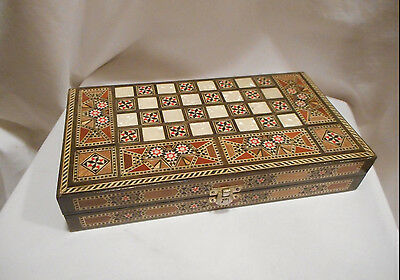 Backgammon/Chess Set,Middle Eastern with Wood and Mother of Pearl Inlay