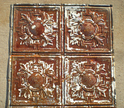 "24""x48"" Antique Victorian Ceiling Tin w 8 Tiles Fleur De Li Gorgeous Shabby Chic"