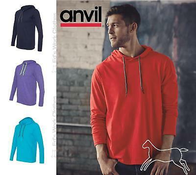 0a5f28989 Anvil Mens Lightweight Cotton Long Sleeve Hooded T Shirt 987 up to 3XL