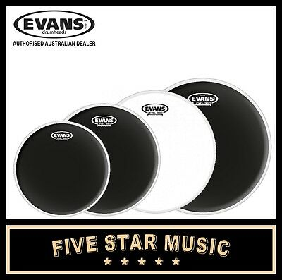 "Evans Onyx + 14"" Power Centre 4 Pce Drum Skin Set 10"" 12"" 14"" 16"" Heads"