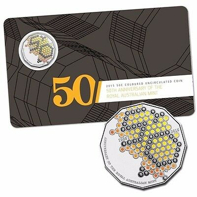 2015 50c Coloured Uncirculated Carded Coin - 50th Ann of the RAM Edition