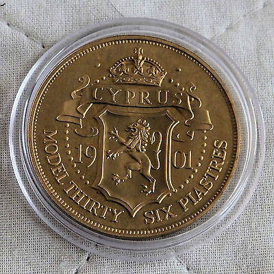 Cyprus 1901 Queen Victoria Bronze Proof Pattern Model 36 Piastres
