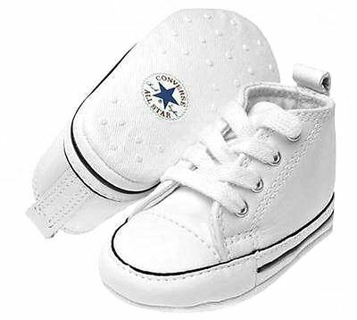 Converse All Star White Leather Infant Baby Boys Girls Crib Shoes Size 1-2-3-4