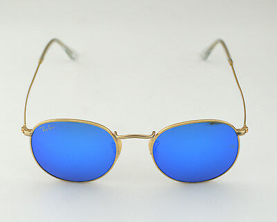 New Ray Ban RB3447 Round Metal 112/17 Blue Flash lens Authentic Sunglasses 50mm