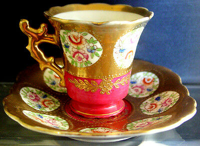 Early RC-ROI Bone CHINA Hand-Painted FLOWERS /Beaded GOLD 4 Demitasse COFFEE SET