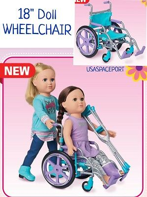 """2016 Doll WHEELCHAIR for My Life As 18"""" American Girl Special Needs Blue/Purple"""