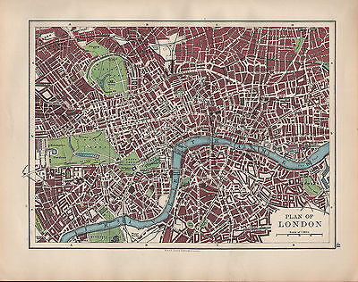 1902 Map ~ Plan Of London ~ Street Public Buildings Parks Stations Kensington