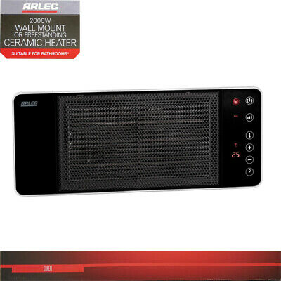 2000W Wall Mount Ceramic Heater with Remote Control & LCD Display Black & Silver