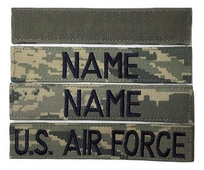 3 piece ABU Custom Name Tape & USAF Tape set, with Fastener - Military
