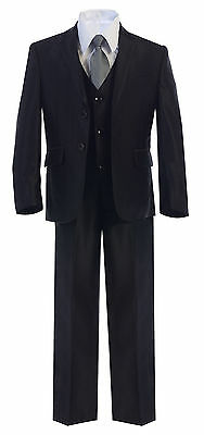 Boys Toddler Kid Teen 5pc Shiny Wedding Formal Black Suit Tuxedo w/ Vest sz 2-20