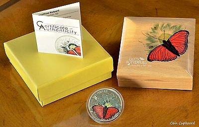 2016 Tanzania - EXOTIC BUTTERFLIES in 3D Cymothoe Hobarti .999 Silver Proof Coin