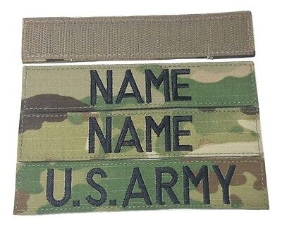 3 piece MULTICAM OCP Custom Name Tape & US ARMY Tape set, Fastener - Military