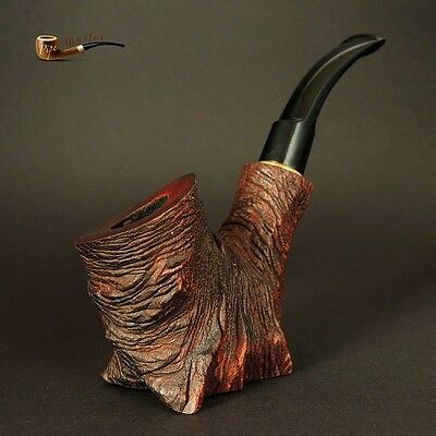 "HAND CARVED WOODEN SMOKING PIPE  "" Stump ""     Pear Tree    Made by Artisan"