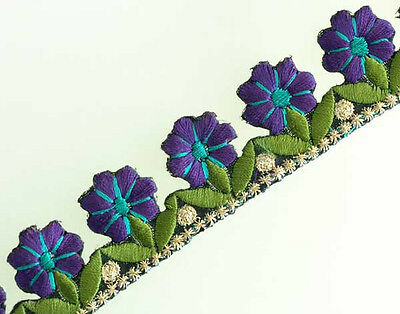 """Embroidered, Iron-On Trim. 3 Yards. Row of Purple Flowers 1"""" Wide 3 yards"""