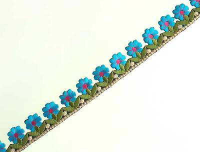 """Embroidered, Iron-On Trim. 3 Yards. Row of Blue Flowers 1"""" Wide"""
