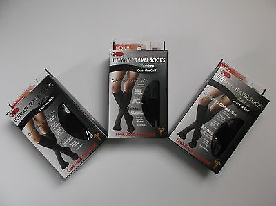 +MD plusMD Ultimate Travel Socks Bamboo Over the Calf Grad. Compression- 3 Pair