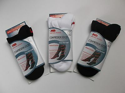+MD Plus MD Ribbed Cushion Over the Calf Compression Socks Black White- 3 Pair