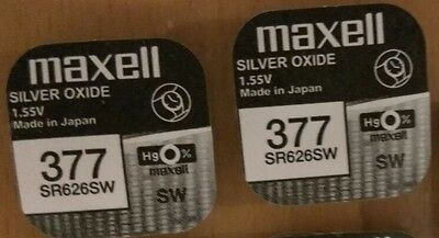 2 x Maxell SR626SW SR626 AG4 377 1.55v Silver Oxide Watch Coin Batteries Sale
