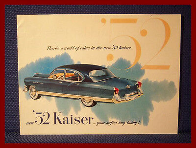 1952 KAISER Automobile Color Sales Catalog Brochure - FREE USA Shipping!