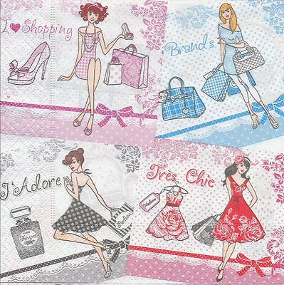 2 Serviettes en papier Femme Mode Decoupage Paper Napkins Fashion Ladies