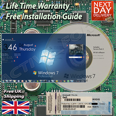 Windows 7 Professional 64-Bit Installation & Format HDD DVD Disc and Product key