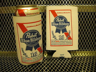 PBR PABST BLUE RIBBON Beer 16oz Pounder 2 PACK Koozie Koozies FREE Sticker NEW