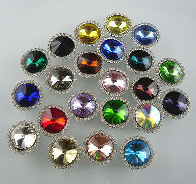 round 12mm glass crystal around clear rhinestones Faceted Jewels sew silver back