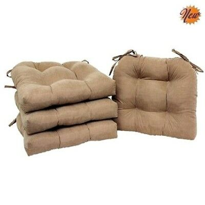 Soft Plush Chair Pads Set Of 4 Kitchen Dining Room Cushion Faux Suede Brownstone
