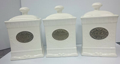 French Country Elegant Kitchen Canisters, Tea, Coffee, Sugar Gold Labels with...