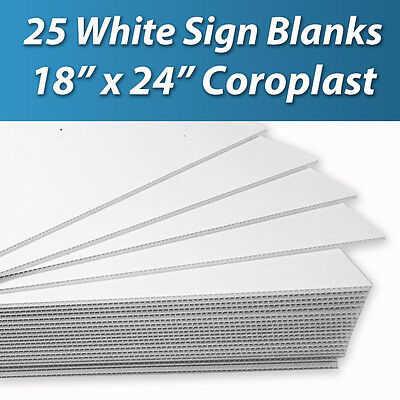 25 pcs Corrugated Plastic 18x24 4mm White Blank Sign Sheets Coroplast