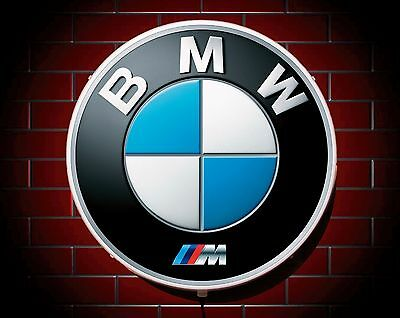 BMW M LED 600mm ILLUMINATED GARAGE WALL LIGHT CAR BADGE SIGN LOGO MAN CAVE GIFT