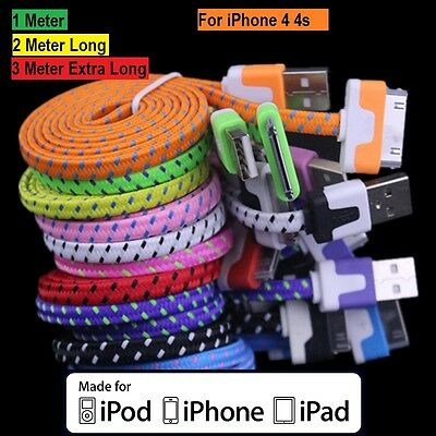 1m 2m 3m Strong Flat Braided Fabric USB Data Sync Cable For iPhone 4 4S 3GS iPad