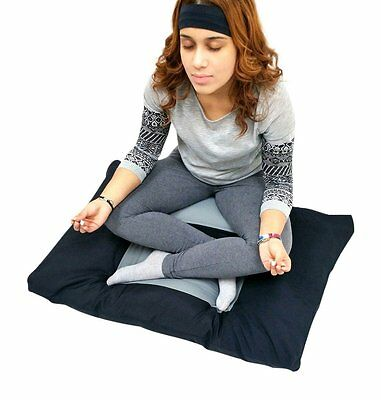 New 2pc Set Black Gray Zabuton Zafu for Yoga and Meditation Seat Cushion