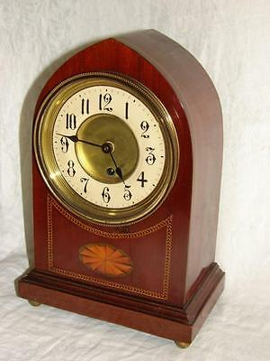 Antique Victorian/Edwardian Mahogany Sheraton Revival Lancet Clock (working)