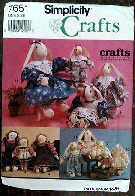 "Simplicity Crafts 7651 Rabbit Doll Clothes Jumper Dress 12"" 18"" Sewing Pattern"