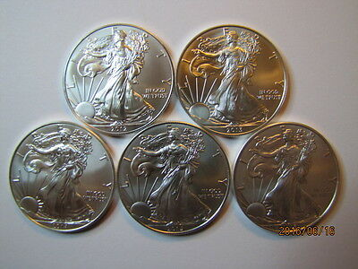 Lot of 5  2012 thru 2016 1 oz. American Silver Eagles, Gem BU w/ No Marks!