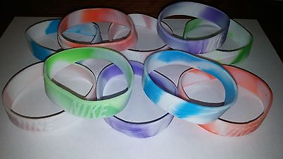 New Nike 3D Wristband Bracelet Tye-Dye Silicone Rubber - Lot of 10 Mixed Color