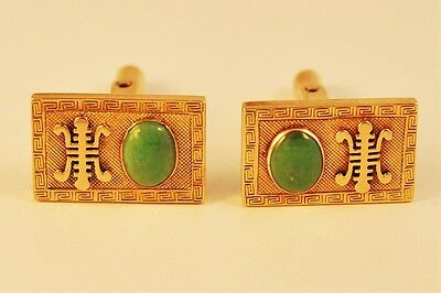 Antique Chinese Jade Cuff Links Gold 14 kt  Genuine Natural