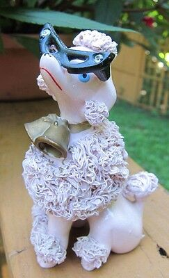 LARGE Pink RELCO Spaghetti Poodle Figurine~ Glasses~ Rhinestones~Bells on collar