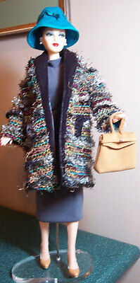 "Grey Jersey Dress + Lush Multicolored Coat Ensemble - fits any 16"" Fashion Doll"