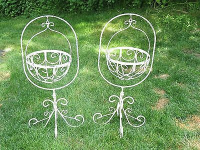 Pair/Set Of 2 Antique Chippy White Wrought Iron Victorian Fern Plant Stands