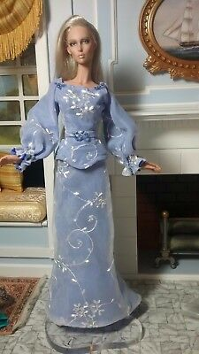 """Embroidered Silk Organza Evening Gown and Belt for Slender 16"""" Fashion Dolls"""